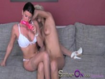 StrapOn Quality lesbian strapon sex on the sofa