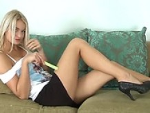 Cute blonde newcomer cums on her fingers