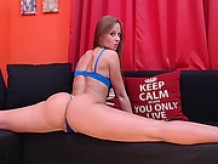 Blue lingerie beauty booty webcam