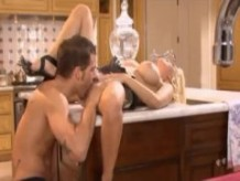 Blonde Housewife romantic sex in kitchen