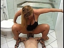 Slave Cleans Hot Blondes Ass After She Pisses