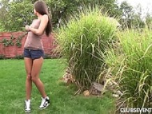 Tiny titted teen Adriana masturbating in the garden