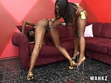 Ebony lesbians with thick asses use strap-on