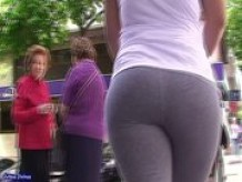 big ass candid gray tights walking down