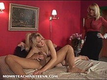 Mom gives a lesson in cock pleasuring