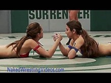 Hot lesbians wrestling and banging