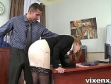 Bad secretary punished by spanking and anal sex