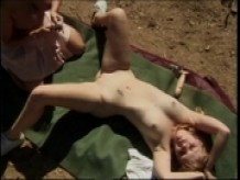 Hot all natural lesbians make love with dildos in the desert