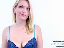 HOT BLONDE SWALLOWS CUM AT CASTING PHOTO SHOOT