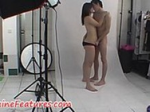 Awesome couple are showing themselves in front of camera