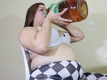 Asian girl with huge belly