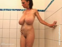 Busty Ukrainian goddess in bathroom