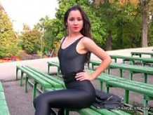 russian teen maria showing off in spandex