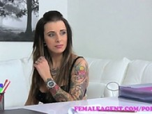 FemaleAgent  Tattooed beauty gets her first lesbian orgasm from a strap on