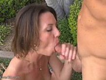 Wife having garden sex with neighbour
