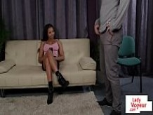 Bigtitted ebony domina helps naked sub